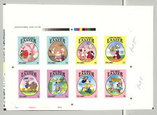Gambia #1524-1531 Disney, Easter 8v Imperf Chromalin Proofs on Collective Sheet