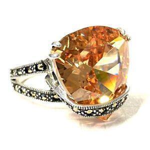 (SIZE 6,7,8,9) HUGE Amber Orange CZ Stone RING Marcasite .925 STERLING SILVER