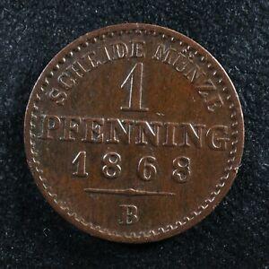 1 pfennig 1868B Prussia German States KM#480 Copper Prusse Preußen pfenning