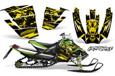 Arctic Cat Sno Pro Race Sled Wrap Snowmobile Decal Graphic Kit NIGHTWOLF YELLOW
