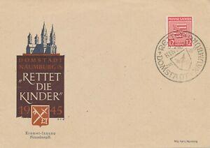 SBZ 1946 Sachsen Wappen 12 Pf Nichtamtliche Ausgabe NAUMBURG - RETTET DIE KINDER