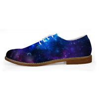 Starry Mens Oxford Casual Brogue Lace Up Shoes Fashion Loafers Gentleman Blue