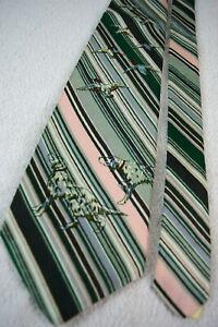 "Saks Fifth Avenue Vtg Silk Kipper Neck Tie 54"" x 4.5"" Dogs Ducks 60s 70s NWT"