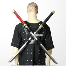 Dual Sword Back Scabbard Holder Harness with Shoulder Strap Faux Leather
