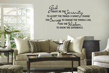 SERENITY PRAYER Home Bedroom Vinyl Wall Decal Lettering Saying Words God