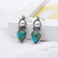 Vintage Women Silver Pearl Natural Turquoise Gems Wedding Drop Dangle Earrings