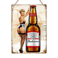 BUDWEISER Pin Up Girl Vintage Retro Metal Wall Sign Plaque Man Cave Pub Bar Beer