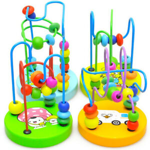 Wooden Puzzle Circle Bead Maze Roller Coaster Kid Educational Game Toy UK