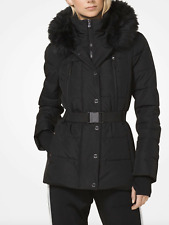 Michael Kors Hooded Belted Quilted Faux Fur Jacket Puffer Coat S Black