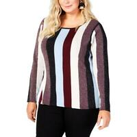 INC Womens Metallic Striped Night Out Pullover Sweater Top Plus BHFO 2846