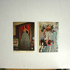 2 Vintage post Cards Color Las Vegas Virginia City Gold Panning & Silver Queen