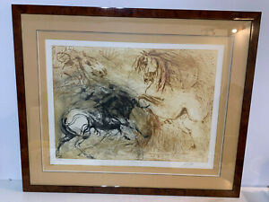 Signed Etching Print of Bull Charging Two Horses Numbered 102/160