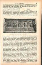 Bancs de la loge des Marchands à Sienne en Toscane Italie GRAVURE OLD PRINT 1877