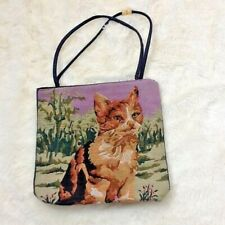 "Cat Kitty Tapestry Denim Shoulder Bag Purse Tote Handbag Travel Laptop Craft 13"""