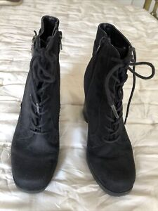 womens ankle boots size 4 Black Faux Suede High Block Heel Goth Victoriana