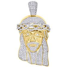 "10K Yellow Gold Diamond Jesus Head Face Piece Solid Pendant 3"" Pave Charm 5.7 Ct"