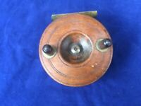 Antique Center Pin Fishing Reel Brass Wooden with Ratchet (4 inches Diameter)