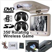 "9"" INCH FLIP DOWN CAR CEILING ROOF CD DVD PLAYER LCD MONITOR IR FM TV USB SD"