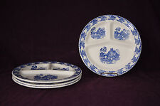 Blue Willow set of 4 grill divided dinner plates Royal China oriental scene