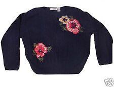 Large Liz Claiborne Hand Knit Sweater Navy/Blue/Flowers