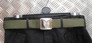 """Genuine Spanish Army Green Canvas Belt with Silver Buckle - Size up to 36"""" Waist"""
