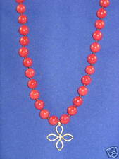 Fossil Brand Goldtone Red Bead Open Flower Necklace $48