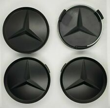 MATTE 4pcs Mercedes Benz Alloy Wheel Centre Caps 75mm Badges BLACK Hub Emblem