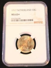 1917 NETHERLANDS GOLD 10 GULDEN WILHELMINA I NGC MS 65+ STUNNING GEM BU BEAUTY
