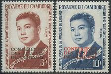 CAMBODGE N°159/160**  Norodom Sihanouk surch, 1965, CAMBODIA   Sc#144-145 MNH