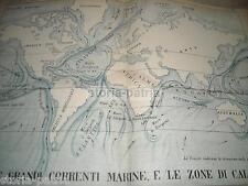 ANTICA CARTOGRAFIA_CORRENTI MARINE_MARE_OCEANI_ASIA_EUROPA_AMERICA_OCEANIA_POLO