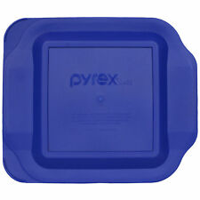 "Pyrex 222-PC Square 8"" x 8"" 2 Quart Storage Container Baking Dish Lid Blue New"