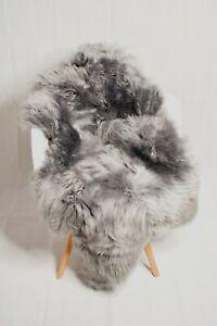 Genuine Single Sheepskin Rug - Silver  Grey Color Super Soft Long Wool