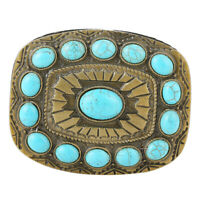 Perles Turquoise Boucle de Ceinture Belt Buckle Western Cowboy Vintage
