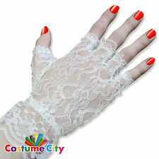 Womens Ladies White Gothic Lace Fingerless Gloves Fancy Dress Costume Accessory