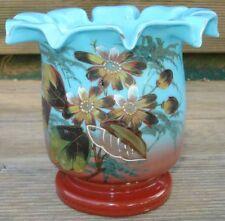 -Cache-Pot Jardinière Verre émaillé Opaline Glass Enameled Flowers