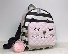 Betsey Johnson Kitty Cat Backpack Black White Stripe Pink Quilted Bag NEW