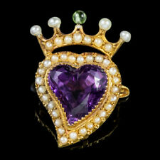 Antique Edwardian Suffragette Amethyst Witches Heart Brooch 15ct Gold Circa 1910