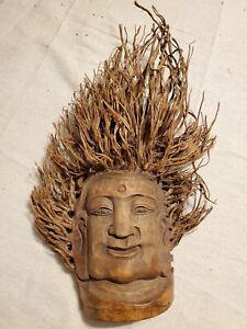 Vintage Bamboo Root Hindu Indian Carving Handmade Wall Hanging Wooden Mask