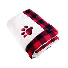 More details for christmas xmas festive dog cat pet comfy snuggle blanket red cream buffalo check