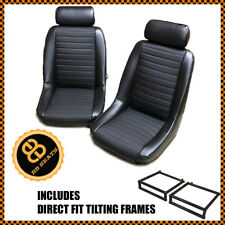 Pair BB1 Clubsport Bucket Seats Black + Direct Fit Tilting Frames CLASSIC MINI