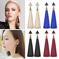 Pair Women Ladies Fashion Rhinestone Earrings 9CM Long Tassel Dangle Fringe Drop