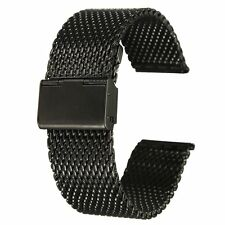 22mm Unisex Stainless Steel Chainmail Watch Strap Band New Year Gift black LW