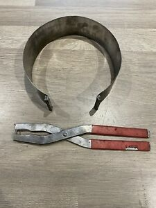 LARGE PISTON RING CLAMP COMPRESSION TOOL 115mm Min dia 45mm WIDE C/W PLIERS