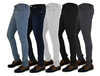 MENS SKINNY JEANS DENIM SUPER STRETCH SLIM FIT ALL WAIST & LEG SIZES BLACK BLUE