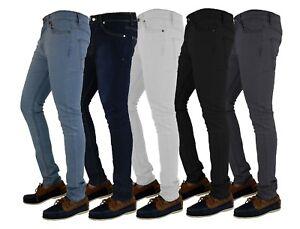 MENS SKINNY JEANS DENIM SUPER STRETCH SLIM FIT ALL WAIST & LEG SIZES BLACK BLUE