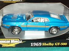 ERTL 1969 FORD MUSTANG SHELBY GT500 BLUE/GOLD 1/18
