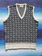 Vtg 80s Pierre Balmain Mongoram Sweater-Vest, 100% Cashmere, Men's 40/Medium
