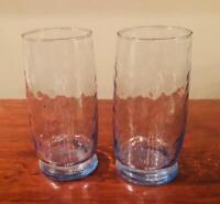 VINTAGE Libbey Crisa BLUE Hammered 16 oz. Drinking Glass Tumblers Set of 2