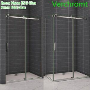 195cm Schwebetür Glasschiebetür Nischentür Dusche Duschabtrennung Galswand Tür