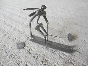 "Decorative Handmade Metal Art Sculpture Skier 6"""